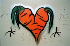 Carrot graffitti can be seen in various locations in central Austin. (credit pusgums @ flicker.com)