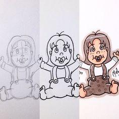 Making of Baby Mercury / Bebé Mercurio  #wip process #pencil #making of  #Solar #family #SolarSystem #Mercury #Mercurio #BabyMercury #BebéMercurio #piuleyocs #girl  #illustration #draw #sketch #drawing #art #artistsoninstagram #dailysketch  #traditional #traditionalart #markers #ink  #cute #adorable #chibi #kawaii