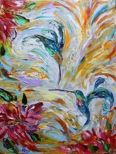 Original Hummingbird Dance palette knife painting by Karensfineart