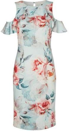 09b5390f7c5c8d Dorothy Perkins Womens  Roman Originals Green Floral Print Cold Shoulder  Dress - ShopStyle