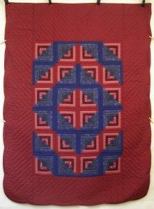 Log Cabin Amish Quilt 72x97; Amish Quilter