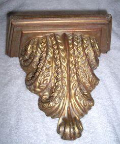 Shelf Sconce Gold Scroll Decorative Wall Hanging Bracket Hollywood Regency Decor