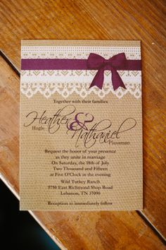 Cute invitations. Do a turquoise ribbon instead, same color as bridesmaids dresses. Girls can match their dresses to invitation color
