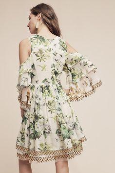 Petra Ruffled Open-Shoulder Dress
