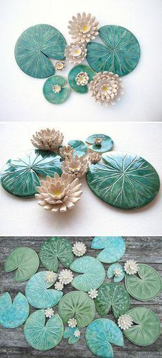 Getöpferte Seerosen Dekoration für Haus und Garten