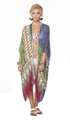 Bella Patchwork Modal Kimono Wrap in Multi