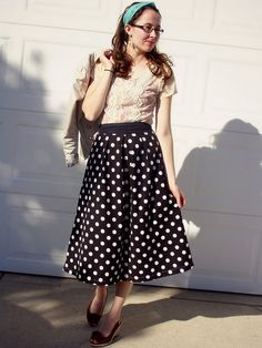 Beautiful creme lace top with polka dot skirt and wedges.  15 for 15 Remix // Day 12