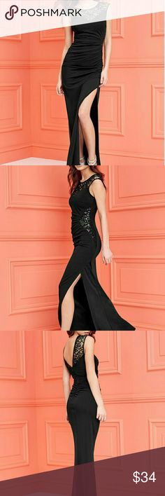 5caf7d425f4f Elegant Black Slit Side Ruched Dress Elegant Red, Black, & Purplish Slit  Side Ruched