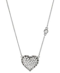 Betsey Johnson Necklace, Silver-Tone Glass Crystal Heart Pendant - Fashion Necklaces - Jewelry & Watches - Macy's