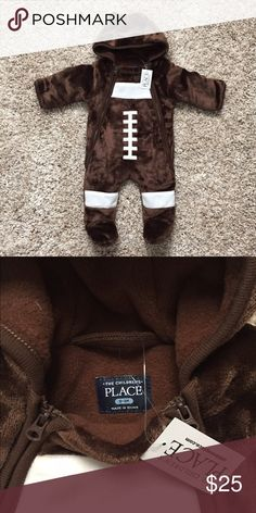 Infant Football Cozy Suit Adorable, warm, football inspired infant footie. NWT. Children's Place One Pieces Footies