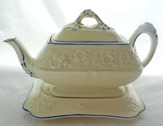 Vintage Crown Ducal Gainsborough Teapot and Stand Perfect Blue/White Disney Collectibles, Chocolate Pots, Chocolate Coffee, English China, Crown, Tea Blends, Tea Cup Saucer, Stores, Teacups
