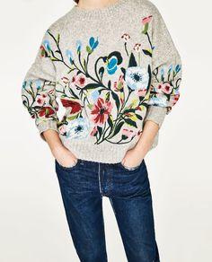 画像 2 の フラワー刺繍セーター ザラから