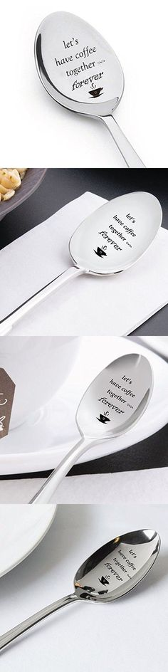 Let's Have Coffee Together Forever- Stainless Steel Espresso Spoons - Engraved Spoon - Cute coffee lovers Gift for Friends Who Are Moving Away - by Boston Creative company # A44 - Tap The Link Now To Find The Gift