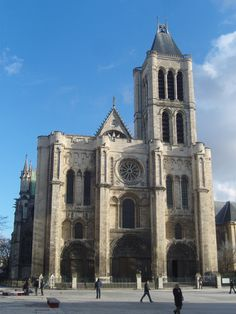 Abbey Church of Saint Denis: This is the west facade of the Basilica of Saint Denis, showcasing the distinct features of Romanesque architecture. Cathedral Architecture, Romanesque Architecture, Art And Architecture, Cathedral Basilica, Cathedral Church, Gothic Cathedral, Saint Denis Paris, Basilica Of St Denis, Architecture Romane