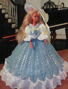 Häkeln Sie Mode Puppe Barbie Pattern - #339 SOUTHERN BELLE blau