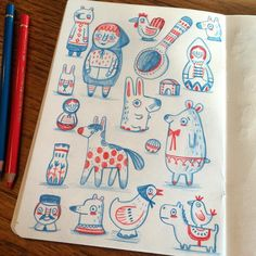 Russian inspired stuff in red and blue. ©Linzie Hunter #Russia #pattern #red #blue #sketchbook #sketch #doodle #drawing #illustration #pencil #fabercastell #folkart