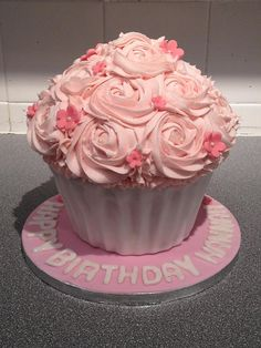 Giant First Birthday Cupcake by The Ribbon Cake Company (Gale), via Flickr