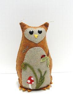 embroidered felt owl