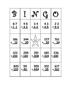 Double (and Triple) Digit Addition Bingo Without Regrouping