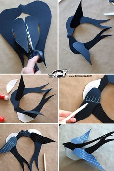 Schwalbe aus Papier ⋆ DekoKing – DIY Bastelideen, Dekoideen, Zeichnen lernen – Keep up with the times. Origami Paper, Diy Paper, Paper Art, Paper Crafts, Cardboard Crafts, Cardboard Paper, Bird Crafts, Diy And Crafts, Crafts For Kids