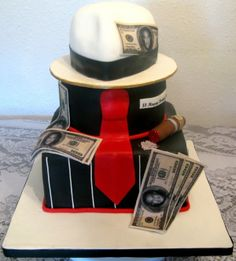 Another Sopranos/gangster Cake Made this cake for my nephew's b-day and he loved it. Red velvet cake iced in fondant. I experimented. Wedding Cake Designs, Wedding Cake Toppers, Wedding Cakes, Wedding Ideas, Zoot Suit Wedding, Beautiful Cakes, Amazing Cakes, Velvet Cake, Red Velvet
