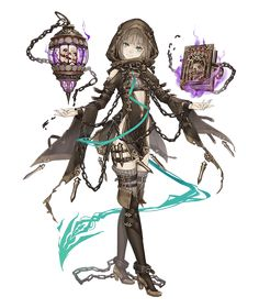 View an image titled 'Gretel, Sorcerer Job Art' in our SINoALICE art gallery featuring official character designs, concept art, and promo pictures. Female Character Design, Character Design References, Character Concept, Character Art, Concept Art, Fantasy Characters, Anime Characters, Anime Weapons, Anime Fantasy