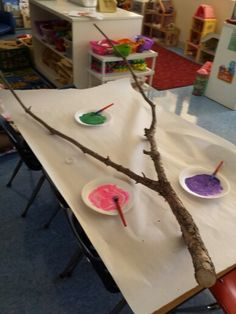 Tree branch painting from Deana Andrews-Dillon -- fun collaborative piece to hang in the Create Space this fall?