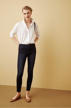 Weekend outfit inspiration: Ann Taylor's High Rise Jean + a crisp, white shirt + ballet flats.