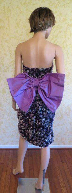 "Gorgeous 90's ""Tomasz Starzewski"" Black Organza Strapless Cocktail Dress w/ Ribbon Appliques & Large Purple Bow in Back on Etsy, $400.00"