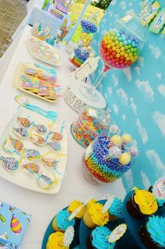 Candy Buffet Queen's beautiful and colorful Oh the Places You'll Go Party