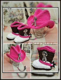 Crocheted baby boots and hat