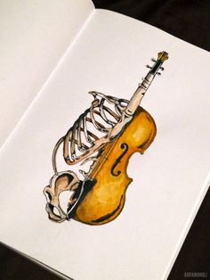 shape mash-up sketchbook idea---skeletal anatomy and musical instruments