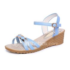 cf2d2e3b5a81   9.99  Women s Wedge Heels PU(Polyurethane) Spring   Summer Comfort Sandals  Wedge Heel Open Toe Buckle Beige   Light Blue