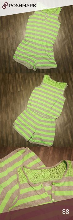 """Neon Romper NWOT Trendy neon green and grey striped romper with lace and button accents. Soft jersey material with elastic waistband. This is a kids size 14/XL from Childens Place but it will fit an XS (size 0-2) in women's. Great for beach, pool, cruise, cover up or everyday summer fashion. Brand new without tag. Measurements lying flat: chest 14"""", waist 13-15"""", 8"""" rise, 3"""" inseam, total length 28-29"""". Bundle with over 400 listings for a special deal. Pants Jumpsuits & Rompers"""