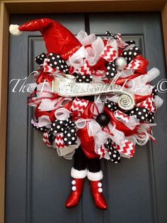 Mrs. Diva Claus Wreath Santa Wreath Christmas by TheWhimsicalDoor