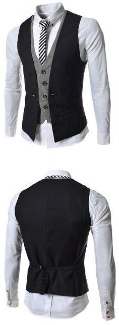 (VE34) TheLees Mens premium layered style slim vest waist coat