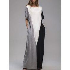 trendsgal.com - Trendsgal Contrast Panel Maxi Dress with Pockets - AdoreWe.com