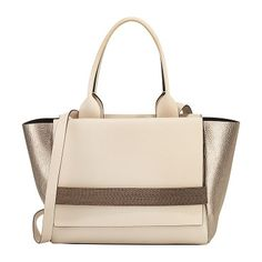 Medium tricolor flap tote bag by Brunello Cucinelli. Brunello Cucinelli tricolor calfskin, nubuck, and metallic calfskin tote bag. Rolled top handles. Removable shoulder ...