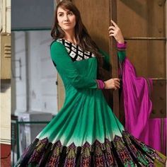 Green Pink Party Wear Anarkali Suit