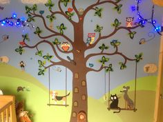 hand paint the tree but do felt leaves with Velcro that can change with the season! Velcro animals?