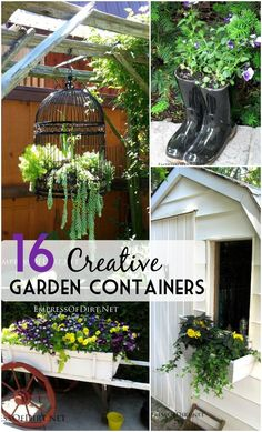 Creative garden containers ideas for unusual planters including boots, metal, wagons, skates, birdcages, junk, and more.