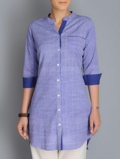 Purple Button Detailed Khadi Kurta