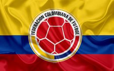 Download wallpapers Colombia national football team, logo, emblem, flag of Colombia, football federation, World Championship, football, silk texture