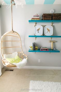 Project Kindergarten - Honey and Fitz Taylor Room Hanging Chairs and Shelves - lillys tween room - Diy Deko Shelves In Bedroom, Small Room Bedroom, Trendy Bedroom, Small Rooms, Spare Room, Teen Girl Bedrooms, Big Girl Rooms, Tween Bedroom Ideas, Reading Nooks