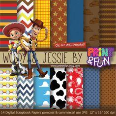 Woody  Jessie Toy Story Digital Paper Patterns by Printnfun, €3.00