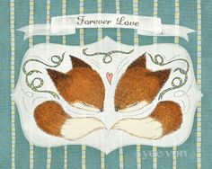 Forever Love - Mr and Mrs Fox. $20.00, via Etsy.