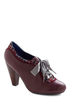 The Estate of Things Heel in Plum by Poetic License - Purple, Multi, Plaid, Mid, Lace Up, Leather, Casual, Scholastic/Collegiate, Vintage Inspired, 20s, 30s