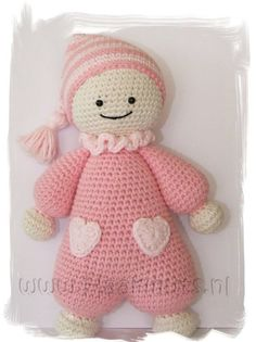 Crochet your little one the cutest baby-doll ever, so she can feel the warmness of her moms heart every day! Chat Crochet, Crochet Rabbit, Diy Crochet, Crochet Patterns Amigurumi, Amigurumi Doll, Crochet Dolls, Big Head Baby, Christmas Shoebox, Baby's First Doll