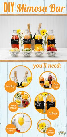 A bright and bubbly DIY mimosa bar! Mimosa Party, Party Drinks, Fun Drinks, Yummy Drinks, Alcoholic Drinks, Beverages, Brunch Bar, Mimosa Brunch, Brunch Decor