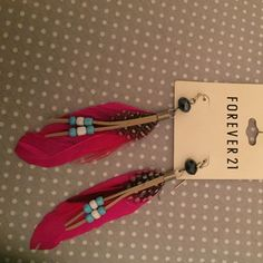 Pink feather earrings Feathered earrings with suede tassel and black crystal Forever 21 Jewelry Earrings